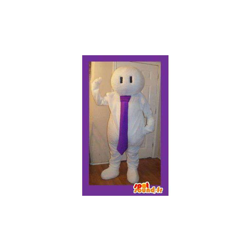 White Mascot man met stropdas - helemaal wit kostuum - MASFR002708 - man Mascottes