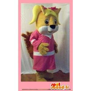 Orava maskotti pukeutunut vaaleanpunainen ja valkoinen - orava Suit - MASFR002709 - maskotteja orava