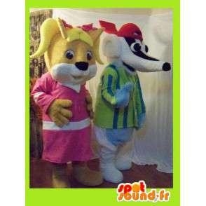 Orava maskotti ja mäyrä - 2 kpl puku metsässä - MASFR002710 - maskotteja orava