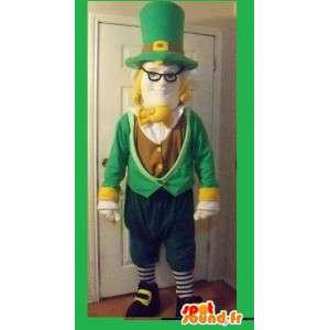 緑と茶色のアイルランドのエルフのマスコット-アイルランドの衣装-MASFR002712-クリスマスのマスコット