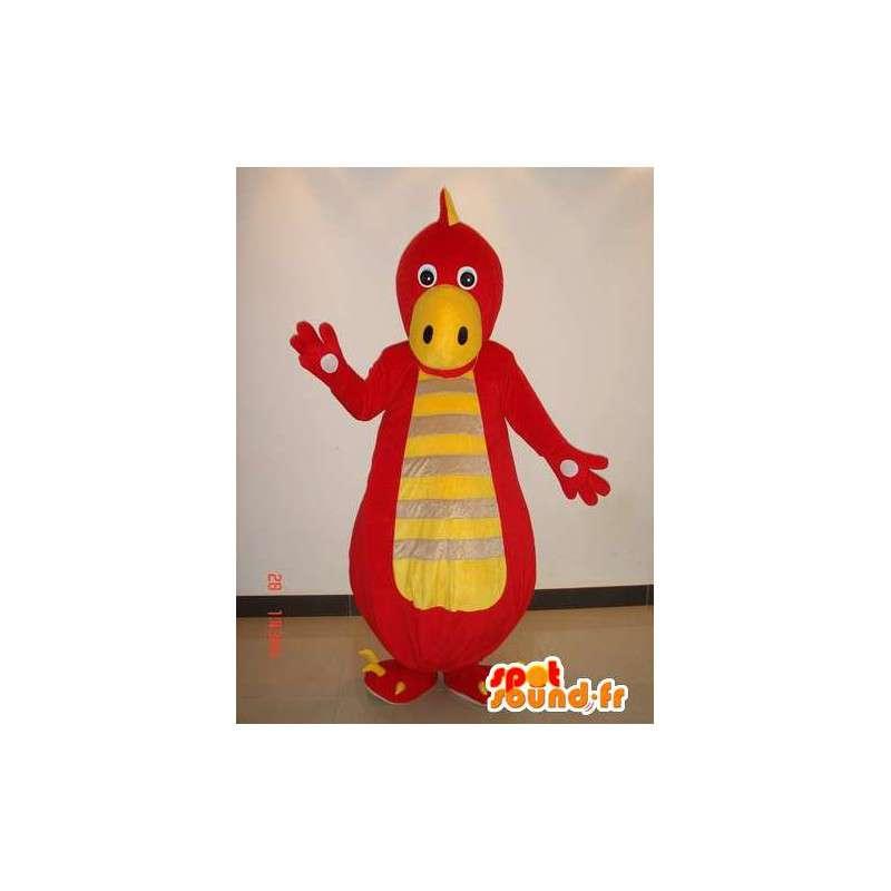 Dinosaur Mascot Red and yellow striped - Costume reptiles - MASFR00223 - Mascots dinosaur