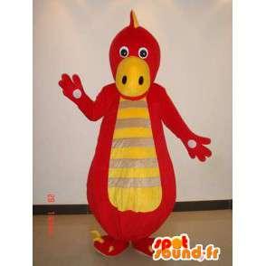 Dinossauro mascote listrado vermelho e amarelo - traje de répteis - MASFR00223 - Mascot Dinosaur