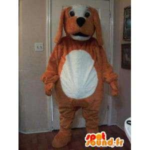 Maskottchen-braun-weißen Hund - Hundekostüm Plüsch - MASFR002719 - Hund-Maskottchen