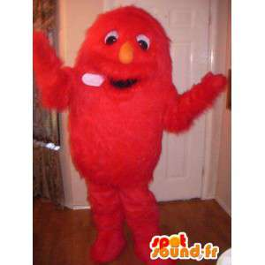 Red monster mascot all hairy - hairy monster Disguise - MASFR002724 - Monsters mascots