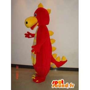 Δεινόσαυρος μασκότ κόκκινο και κίτρινο ριγέ - Κοστούμια ερπετών - MASFR00223 - Δεινόσαυρος μασκότ