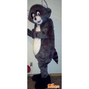 Raccoon mascotte grijs en zwart wasbeer - wasbeer kostuum