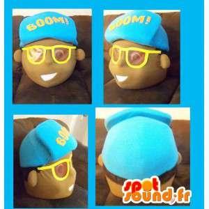 黄色いメガネと青い帽子のファッションの男の子の頭-MASFR002727-マスコットの頭