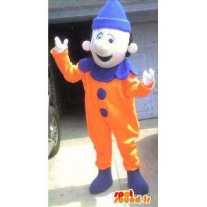 Mascot oranje en blauw clown - clownkostuum