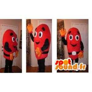 Mascotte de bonhomme rouge - Déguisement de m & m's rouge