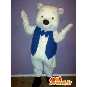 Isbjørnemaskot med blå vest - Isbjørnedragt - Spotsound maskot