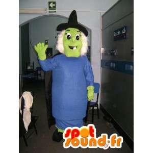Mascot grüne Hexe mit ihrem blauen Kleid und schwarzen Hut - MASFR002748 - Maskottchen-Frau