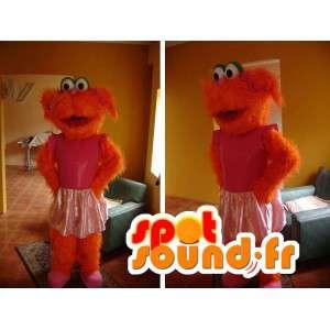 Mascotte chien orange en tutu rose - Déguisement de chien en tutu - MASFR002750 - Mascottes de chien