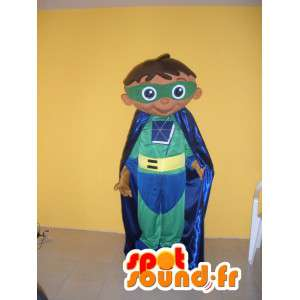 Kindersuperhelden-Maskottchen in grün gelb und blau gekleidet - MASFR002751 - Maskottchen-Kind