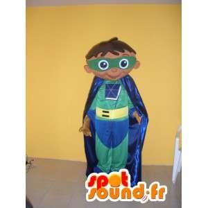 Mascot super held kind gekleed in groen, geel en blauw - MASFR002751 - mascottes Child