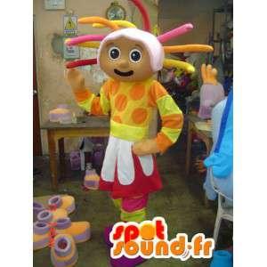 Flerfarget jente maskot og fargede dreads