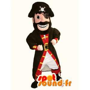 Rød og sort piratmaskot - Piratdragt - Spotsound maskot