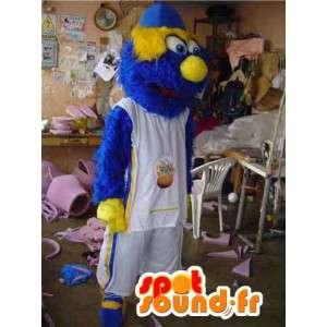 Blå og gul sportsmonster-maskot - Behåret kostume - Spotsound