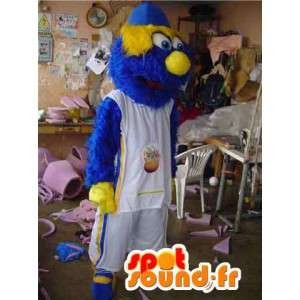 Mascotte de monstre sportif bleu et jaune - Déguisement poilu - MASFR002761 - Mascotte sportives