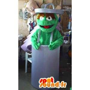 ゴミ箱の中のマスコットグリーンモンスター-モンスターコスチューム-MASFR002766-モンスターマスコット