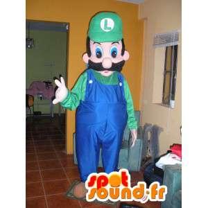 Luigi mascotte, een vriend van Mario groen en blauw - Luigi Costume