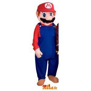 Mascot Mario com seus famosos macacões azuis - traje Mario