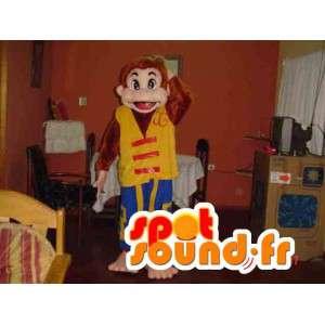 Sirkus ape maskot rød gul og blå - Monkey Suit - MASFR002774 - Monkey Maskoter