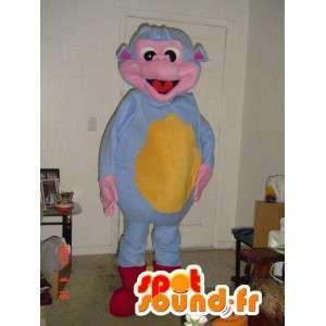 Apina maskotti sininen ja keltainen ruusu - monkey puku - MASFR002775 - monkey Maskotteja