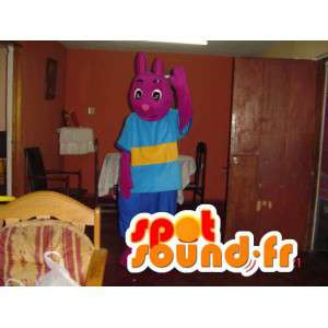 Mascota conejo púrpura - traje rosado del conejito