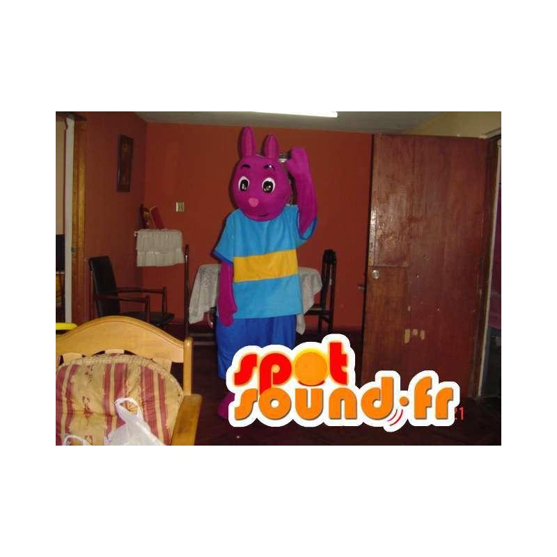 Paarse konijn mascotte - roze bunny kostuum - MASFR002779 - Mascot konijnen