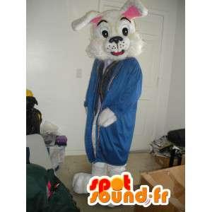 Mascote coelho vestido com casaco azul - Fantasia de Coelho - MASFR002789 - coelhos mascote