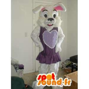 Konijn mascotte gekleed in een paarse jurk - Konijnenpak - MASFR002791 - Mascot konijnen