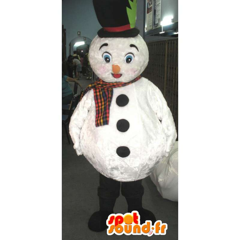 Mascot snowman with hat and scarf white - MASFR002794 - Human mascots