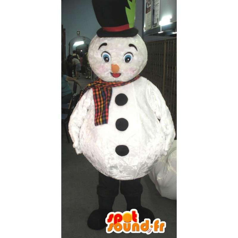 Witte sneeuwman mascotte met hoed en sjaal - MASFR002794 - man Mascottes