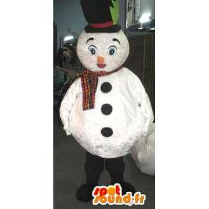 Mascotte de bonhomme de neige blanc avec chapeau et écharpe - MASFR002794 - Mascottes Homme