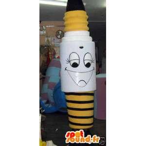 Mascot gigante bombilla amarilla en blanco y negro - MASFR002797 - Bulbo de mascotas