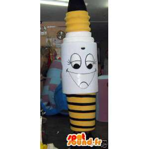 Mascot obří žlutá černá a bílá žárovka - MASFR002797 - maskoti Bulb