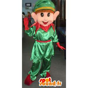 Green and red elf mascot - pixie costume of Santa Claus - MASFR002798 - Christmas mascots