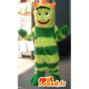 Bicolor green monster mascot all hairy - Monster Costume - MASFR002799 - Monsters mascots