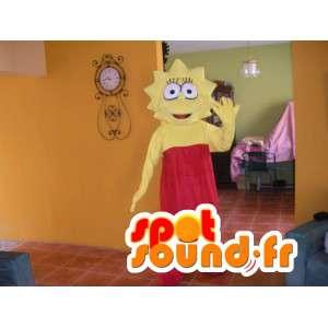 Lisa Simpsons maskot i röd klänning - Simpsons kostym -