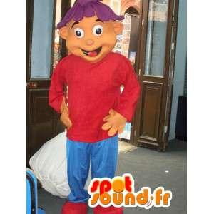 Poika maskotti pukeutunut punaiseen ja sininen - Boy Puku - MASFR002804 - Maskotteja Boys and Girls