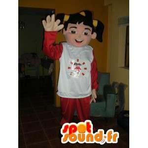 Mascote menina vestida de vermelho e branco - traje menina