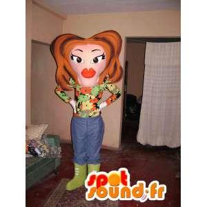 Mascotte de femme mûre maquillée - Déguisement de femme mûre - MASFR002808 - Mascottes Femme