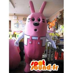 Tecknad typ rosa kaninmaskot - Rosa kanindräkt - Spotsound