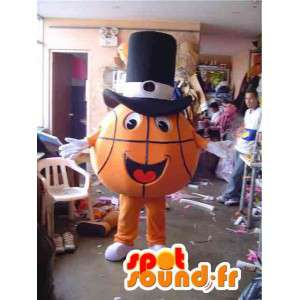 Mascot orange basketball with black hat