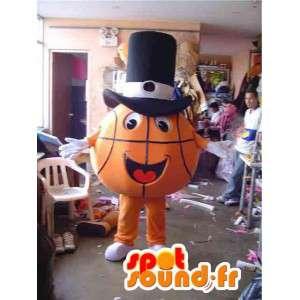Mascotte de ballon de basket orange avec un chapeau noir