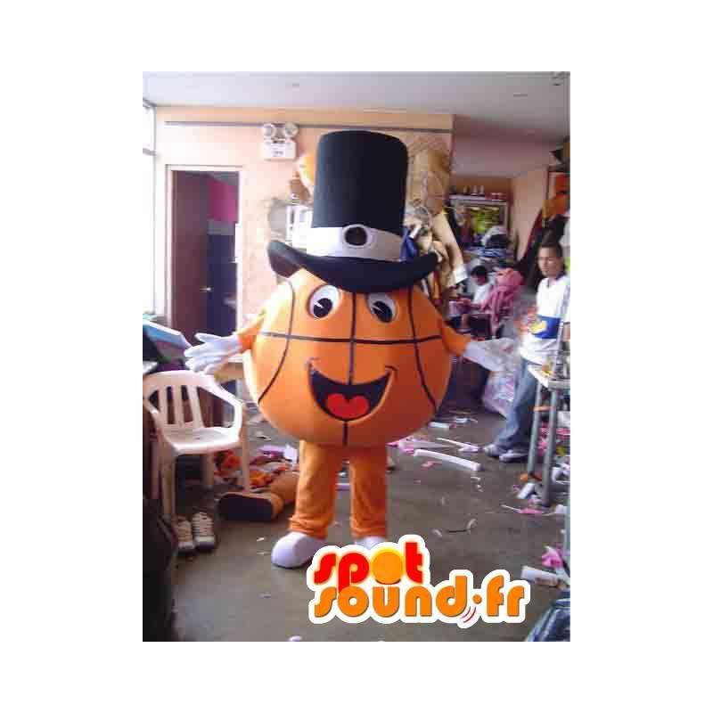 Mascot orange basketball with black hat - MASFR002818 - Sports mascot