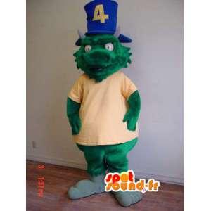 Giant green dragon mascot - Green Dinosaur Costume - MASFR002913 - Dragon mascot