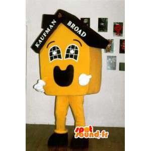 Mascotte en forme de maison jaune personnalisable - MASFR002916 - Mascottes Maison