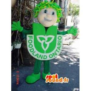 Mascotte de bonhomme en costume vert - Costume de bonhomme