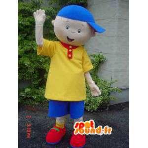 黄色と青の衣装と帽子をかぶった子供マスコット-MASFR002924-子供マスコット